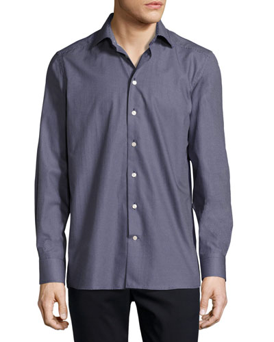 Micro-Dot Sport Shirt, Navy