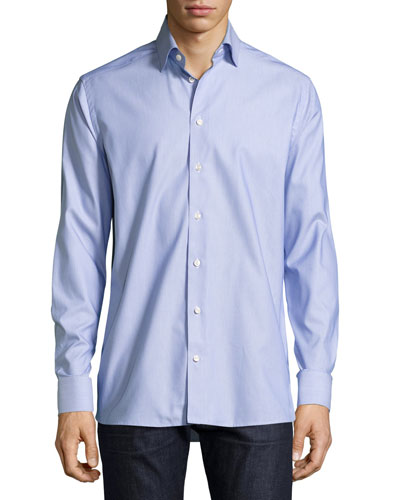 Zigzag Waves Jacquard Sport Shirt, Blue