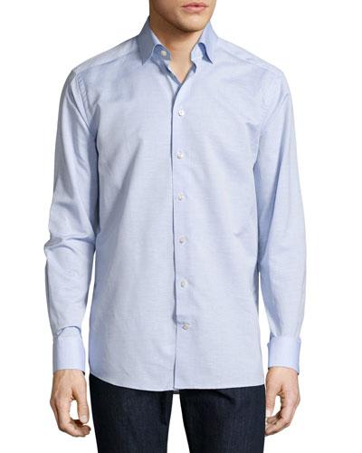 Cotton-Linen Wrinkle-Resistant Sport Shirt, Light Blue