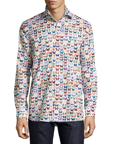 Butterfly-Print Sport Shirt, Multicolor