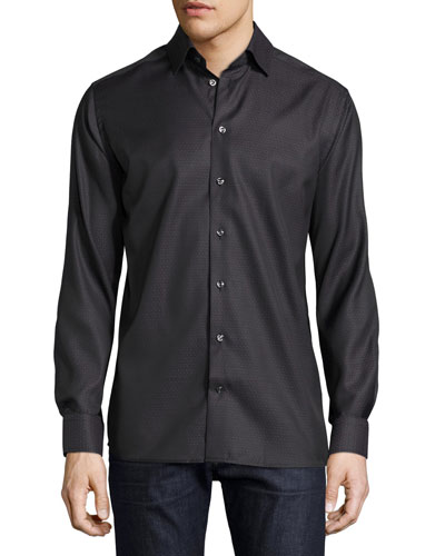Tonal Geometric-Print Sport Shirt, Black