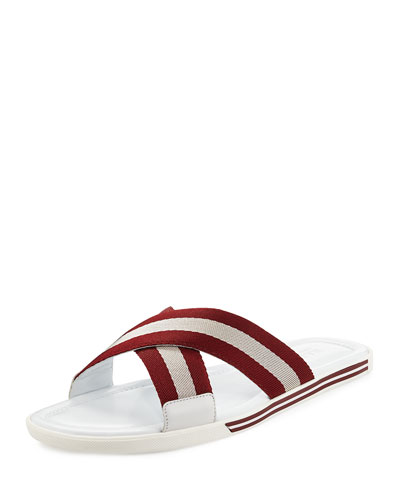 Bonks Slide Sandal with Trainspotting Strap, White