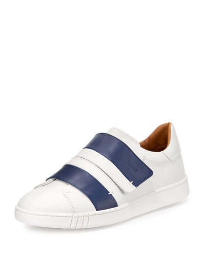 Willet Leather Grip-Strap Sneaker, White/Blue