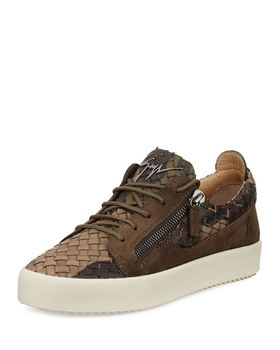 Men's Camo Woven Leather & Suede Low-Top Sneaker, Olive