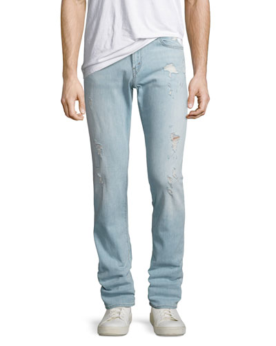 Tyler Slim-Straight Distressed Jeans, Dened
