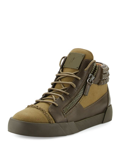 Men's Foxy London Canvas & Leather Studded Mid-Top Sneaker, Olive