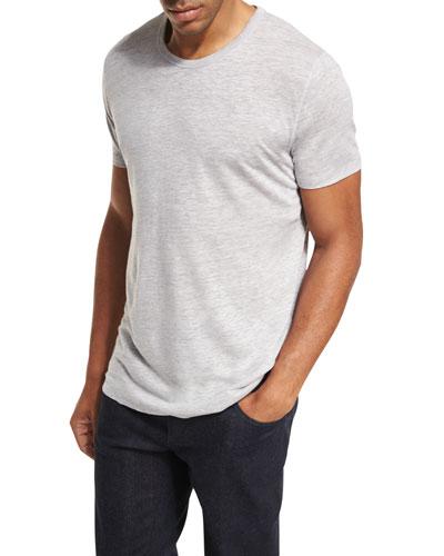 Linen-Silk Crewneck T-Shirt