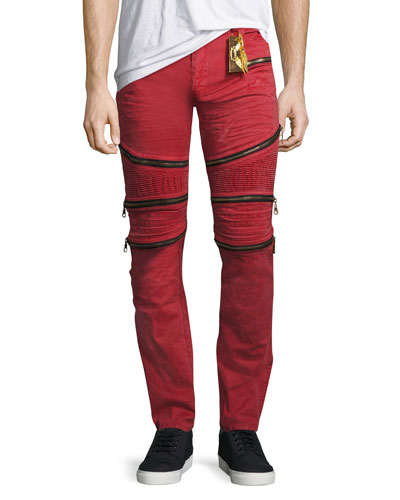 Distressed Zipper Moto Jeans, Red