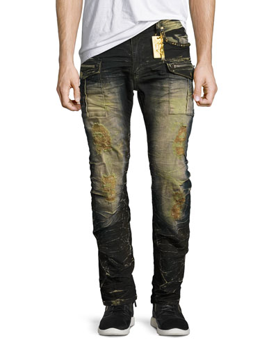 Distressed Cargo Skinny Jeans, Blue/Black