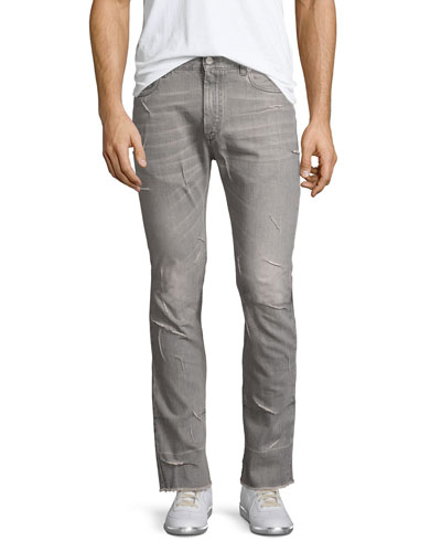 Raw-Hem Stovepipe Jeans with Stitching, Light Gray