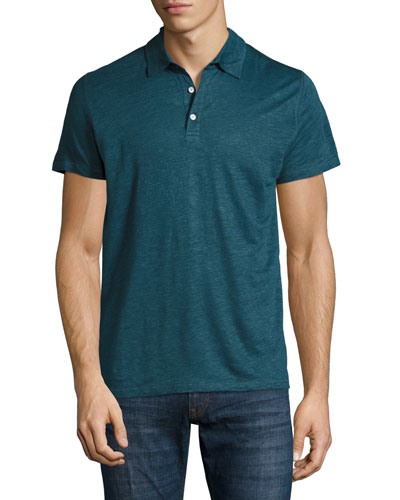 Linen-Silk Polo Shirt, Blue