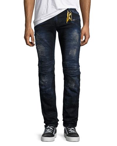 Motard Skinny Biker Jeans, Blue/Purple
