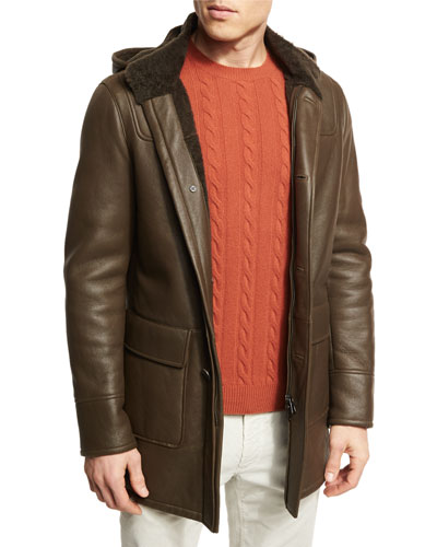 Woolbrook Leather & Shearling Coat with Detachable Hood