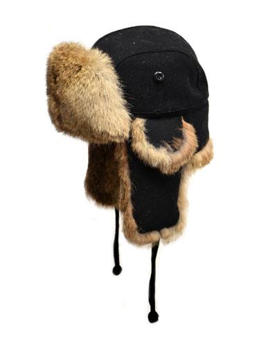 Wool Aviator Hat with Rabbit Fur, Black
