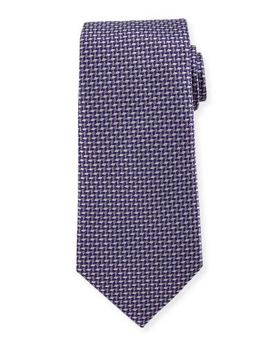 Geometric Silk Tie, Purple
