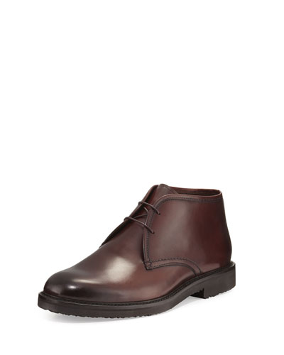 Leather Chukka Boot, Burgundy