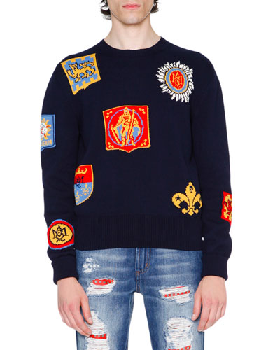 Crest Intarsia Sweater, Navy