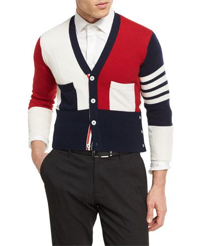 Colorblock Cashmere V-Neck Cardigan