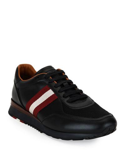 Men's Leather Trainer Sneakers w/Trainspotting Stripe, Black