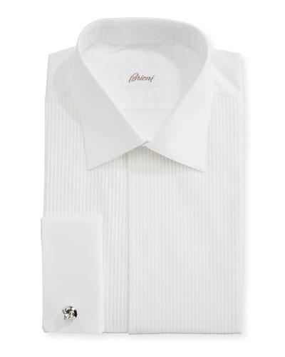 Pleated Poplin French-Cuff Dress Shirt