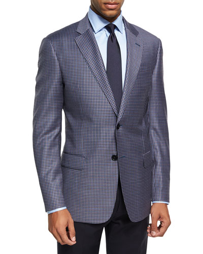 Check Two-Button Sport Coat, Pink/Blue/Brown