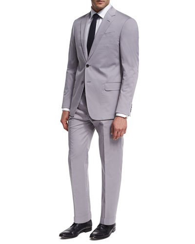 Stretch Cotton Two-Piece Suit, Light Gray
