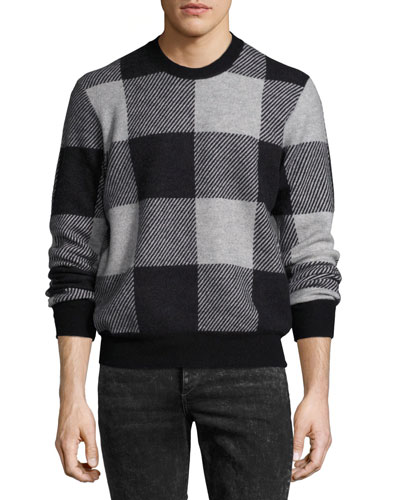 Addison Gingham Jacquard Felted Wool Crewneck Sweater, Light Gray/Black
