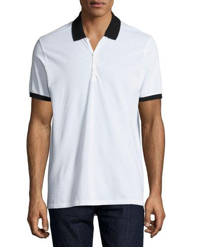 Farris Contrast-Trim Polo Shirt, White