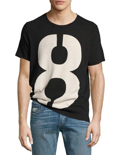 Number 8 Crewneck T-Shirt, Black