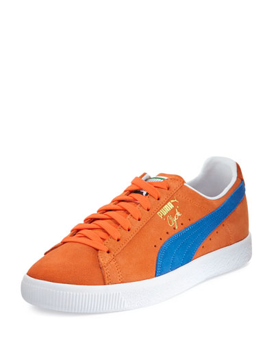 Clyde Suede Low-Top Sneaker, Orange/Blue