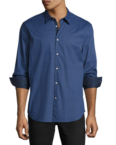 Slim-Fit Micro-Pattern Sport Shirt, Dark Blue