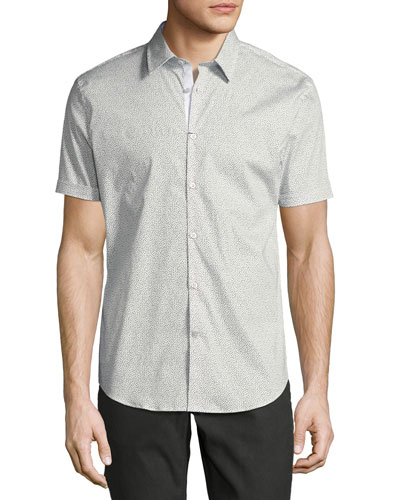 Dot-Print Slim-Fit Short-Sleeve Sport Shirt, White