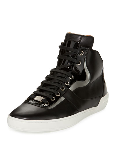 Eroy Leather High-Top Sneaker, Black