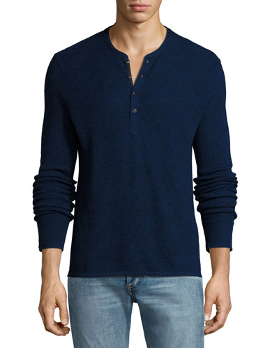 Giles Merino Wool-Blend Henley Sweater, Navy Blue