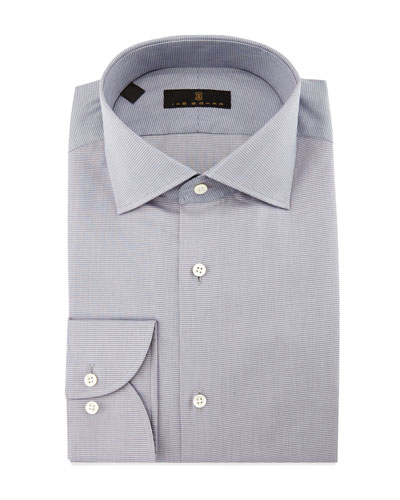 Gold Label Milano Mini-Houndstooth Dress Shirt, Gray