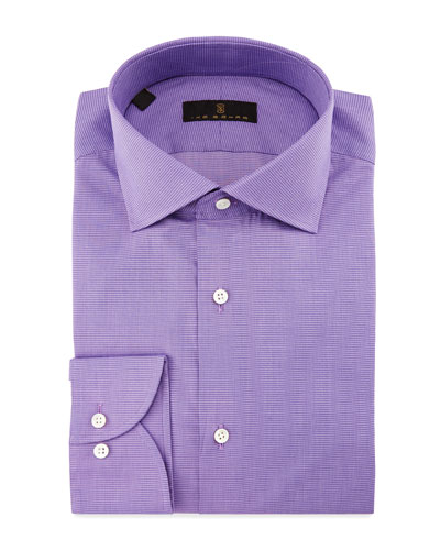 Gold Label Milano Mini-Houndstooth Dress Shirt, Lavender