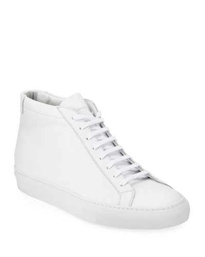 Men's Original Achilles Men's Leather Mid-Top Sneaker, White