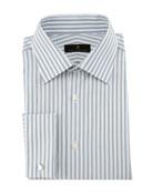 Bold-Stripe Dress Shirt, Gray/White