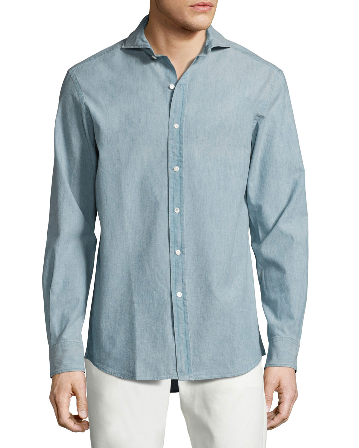 Ralph Lauren T-shirts CHAMBRAY SPORT SHIRT, LIGHT BLUE