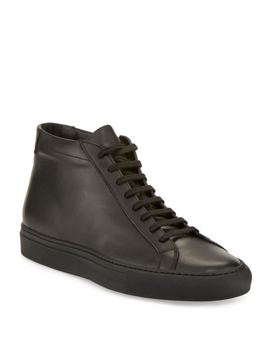 Men's Basic Leather High-Top Sneaker, Black