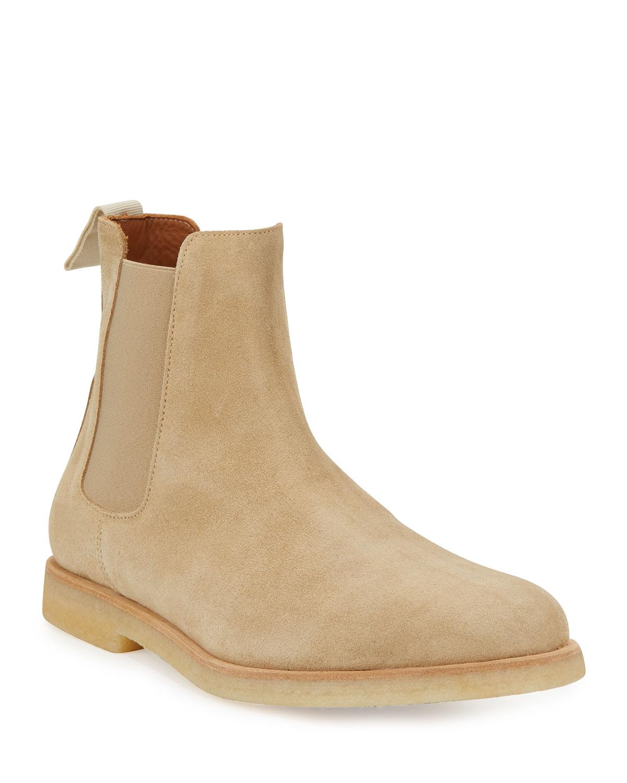 Men's Calf Suede Chelsea Boot, Tan