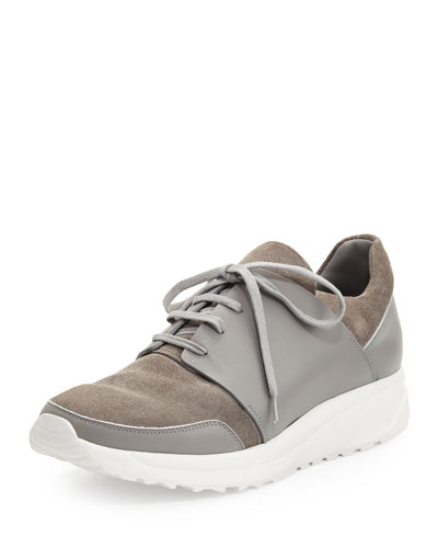 Men's Suede & Leather Trainer Sneaker, Gray