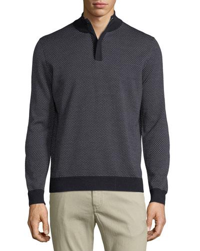 Dot Jacquard Half-Zip Pullover