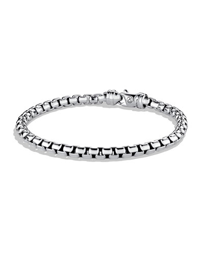 Men's 5mm Sterling Silver Large Box Chain Bracelet