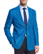 Houndstooth Linen-Wool Two-Button Sport Coat, Turquoise