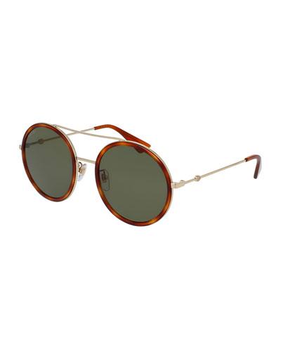 Round Acetate-Trim Metal Sunglasses, Light Tortoiseshell