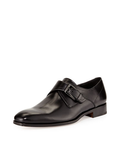Modugno Calfskin Single Monk-Strap Loafer, Black