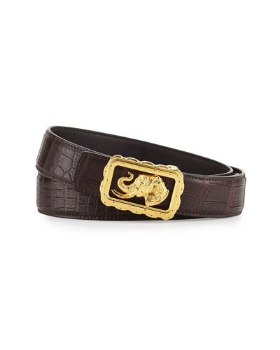 Crocodile Belt with Golden Elephant Buckle, Brown