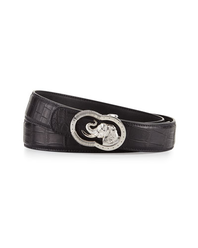 Crocodile Belt with Silvertone Elephant Buckle, Black