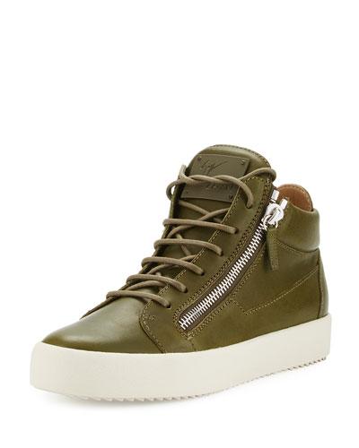 x Zayn Men's Leather Double-Zip Mid-Top Sneaker, Olive